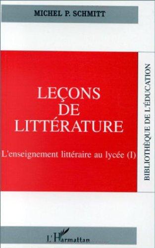 LECONS DE LITTERATURE